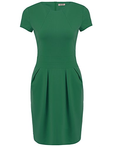 ACEVOG Women Casual Plain Elasticity Short Sleeve Slim Fit Cotton Dress(Medium, (Sheath Dress)
