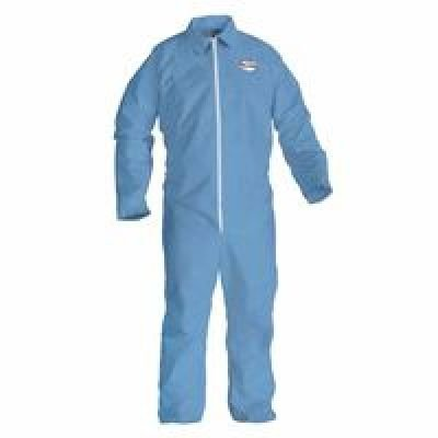 Kimberly-Clark Kleenguard A65 Blue XL Disposable Heat & Fire-Resistant Coveralls - Elastic Ankles, Elastic Wrists, Attached Boots, Attached Hood - 45354 [PRICE is per EACH]