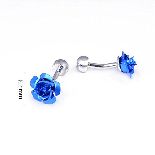 Da.Wa 1 Pair Rose Flower Cuff Links for Mans Women Jewelry Gift for Wedding Anniversaries Birthday Cufflinks by Da.Wa (Image #4)