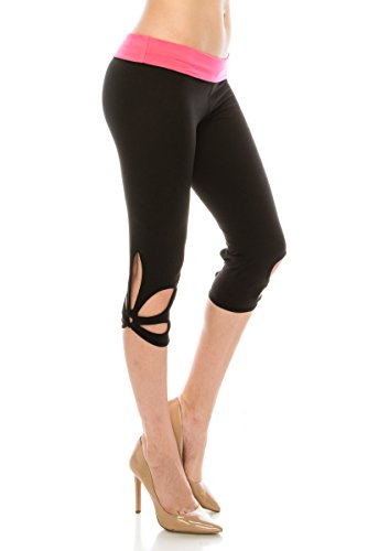 ALWAYS Women Solid Soft Stretch Cutout Yoga Pants Workout Leggings Black Pink Regular Peaches Low Rise Pants