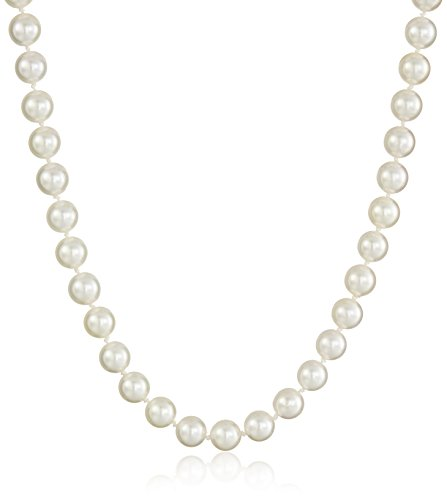 14k Yellow Gold Saltwater Akoya Cultured Pearl AA Grade 7.5-8mm Necklace, 18'' by Amazon Collection