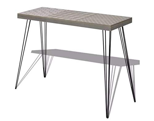 Console Table Stylish Sideboard Tabletop Decorative MDF + Steel 35.4''x11.8''x28'' Gray SKB Family