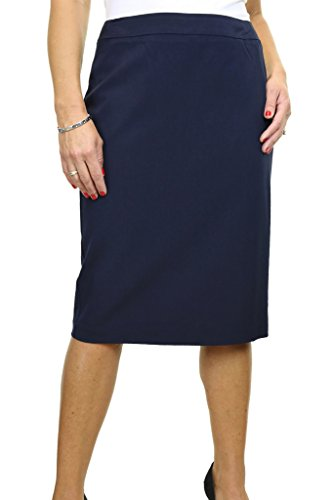icecoolfashion Ice (2547-2) Smart Knee Length Office Skirt Fully Lined Washable Navy Blue (Fully Lined Pencil Skirt)