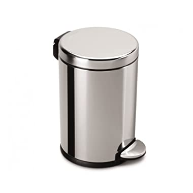 simplehuman Mini Round Step Trash Can, Polished Stainless Steel, 4.5 L / 1.2 Gal