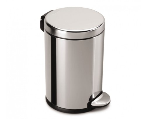simplehuman Round Step Trash Can, Fingerprint-Proof Brushed Stainless Steel, 4.5-Liter /1.2-Gallon by simplehuman
