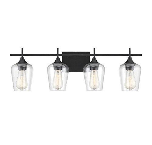 Savoy House 8-4030-4-BK Octave - Four Light Bath Bar, Black Finish with Clear (4bk 4 Light)