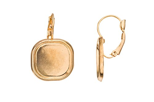 18mm Gold-Finished Clip-On Earring with Square Bezel Cup sold per pack of 8