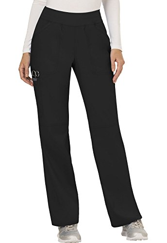 WW Revolution by Cherokee Women's Mid Rise Straight Leg Pull-on Pant Tall, Black, XX-Large Tall