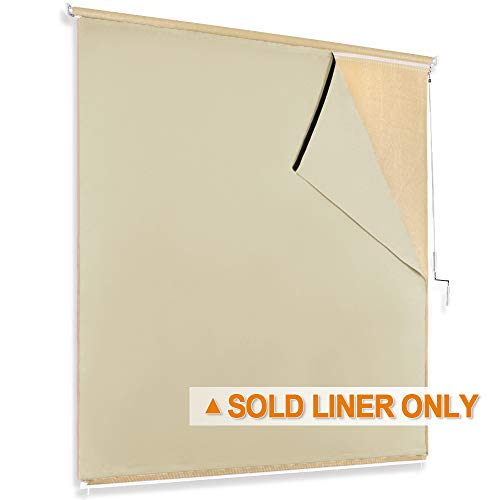 RYB HOME Blackout Liner Match for Roll up Bamboo Blind Shades Light Block for Indoor Outdoor Privacy Barrier, Give Sticky Strap for Inatallation, W 8 x L 6 Foot, Cream Beige