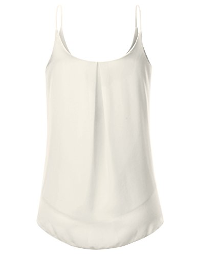 JJ Perfection Women's Pleated Chiffon Layered Cami Tank Top Ivory L by JJ Perfection (Image #2)