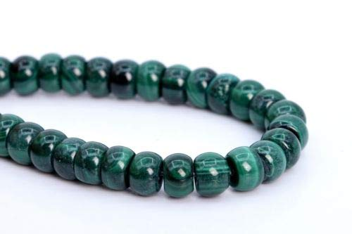 6x4mm Genuine Natural Malachite Beads Grade Rondelle Loose Beads 7.5'' Crafting Key Chain Bracelet Necklace Jewelry Accessories Pendants ()