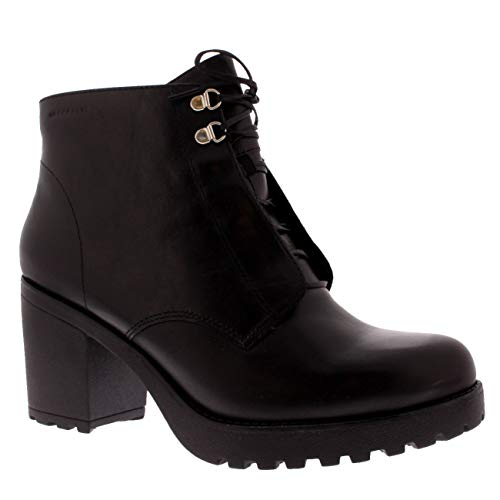 Nero Fashion Womens Block Ankle Boots Vagabond Heel Work Grace Leather Black qFCvTwx