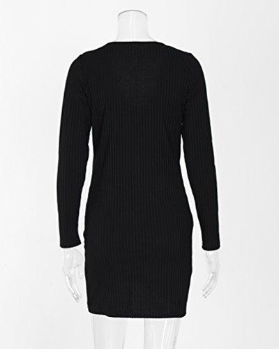 ... WanYang Frauen Langarm Strick Pullover Kleid V-Ausschnitt Minikleid  Sweatshirt Kleider Patchwork Bodycon Kurz Cocktail ... 0961a1e855