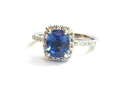 (Cushion Cut Blue Sapphire Engagement Ring,Ceylon Cornflower Blue sapphire Diamond Halo Ring in 18K White Gold )