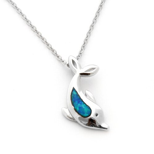 Sterling Silver & Blue Inlay Simulated Opal Diving Dolphin Pendant Necklace (Sterling Silver Blue Opal Inlays)