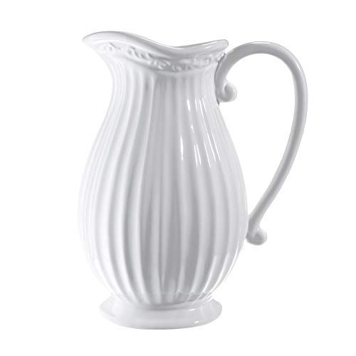 D'vine Dev 10 Inches Tall Large White Ceramic Pitcher Vase Decorative French Country Pitcher Vase for Flowers, Floral Pitcher