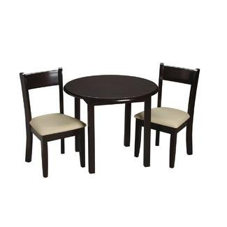 Round Upholstered Chair - Gift Mark Children's Round Table with 2 Matching Upholstered Chairs, Espresso
