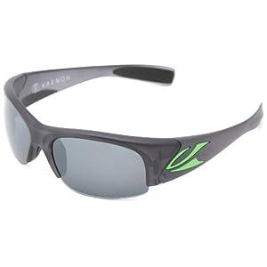 Kaenon Men's Hard Kore Polarized Shield Sunglasses, Graphite & Green Logo, 63 mm