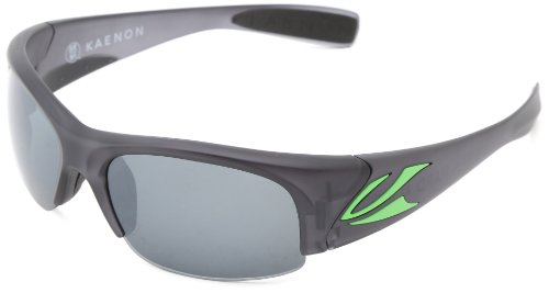 Kaenon Men's Hard Kore Polarized Shield Sunglasses, Graphite & Green Logo, 63 mm