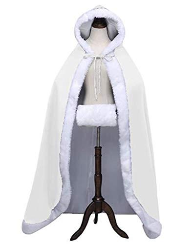 Invierno Lujo Manto Largo Boda Novia Las El Mujer Mujeres Con Capucha La Marfil Capa Cálida De R0wqA