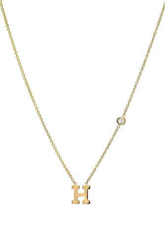 14k gold initial and bezel diamond necklace