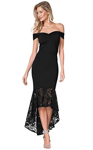 EZON-CH Black Twist Center Off Shoulder Bodycon Mermaid Dress for Women,Size L