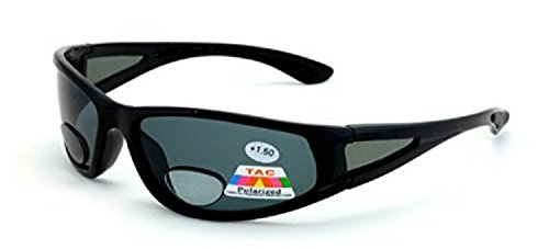 Mens Wrap Around Sport Sunglasses Polarized Plus Bifocal Reading Lens Black - With Sunglasses Cheaters