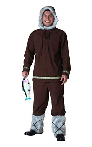 COSKING Eskimo Costume for Men, Adult Deluxe Halloween Inuit Cosplay Outfit (Tag -