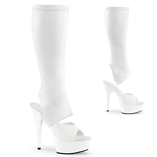 Pleaser Women's Delight 2022 Knee High Boots, White Faux Leather, 9 M by Pleaser