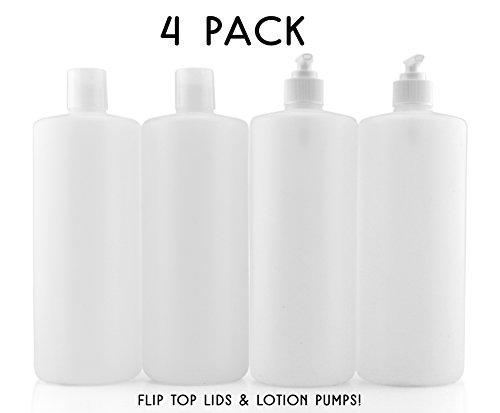 32-Ounce Plastic Squeeze Bottles w/Pumps & Disc Top Caps (4-Pack, 12-Piece Set), Natural White Color HDPE