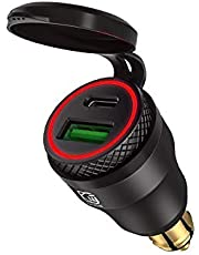 USB-sigarettenaansteker-adapter voor BMW motorfiets DIN/Hella EU stekker - Dual oplader adapter stopcontact USB C PD 3.0 & QC 3.0 snellaadbus voor motorfiets, boot, vrachtwagen, caravan, ATV