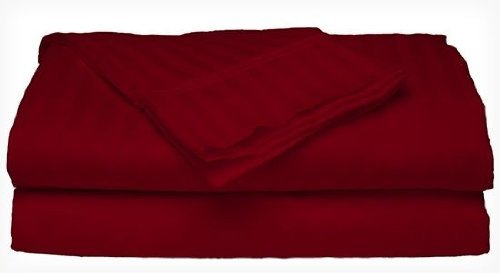 4 Piece Dobby Stripe Sheet Set. (4 Sizes, 9 Colors) (Queen, Burgundy