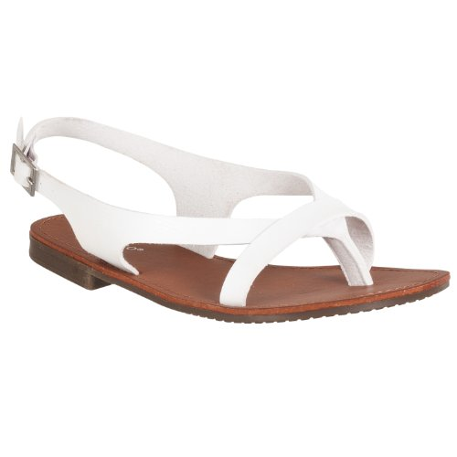 Bamboo Womens Cable Lizard-embossed Sandals White