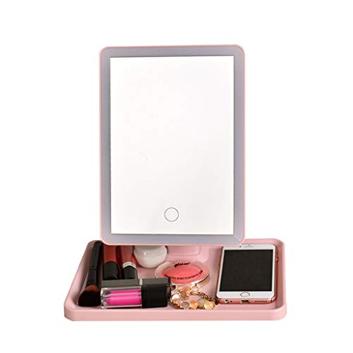 LED Makeup Mirror Smart Touch Screen Makeup Mirror Desktop Mirror Rotating HD Mirror Monochrome Light (Color : Pink)