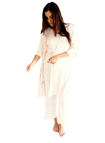 BAREFOOT DREAMS LUXE MILK JERSEY SHORT ROBE (MEDIUM, PINK) by Barefoot Dreams