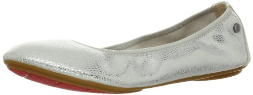 Hush Puppies Women's Chaste Ballet Flat,Silver,9 N US