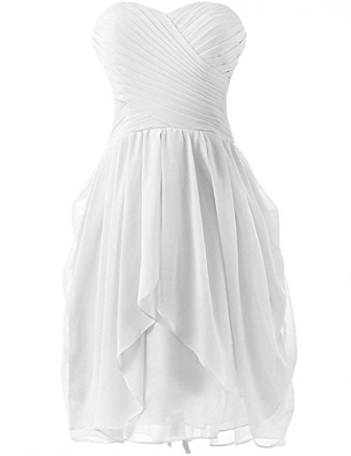 Sweetheart White Chiffon Bridesmaid Dresses Short Dance Wedding Party Dress,Size ()