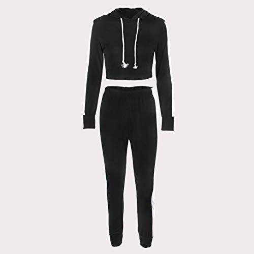 Pantalon AIMEE7 Sport Sport Capuche De Manches Ensemble Sweat Noir Shirt Femme Longues zRzqavBwr