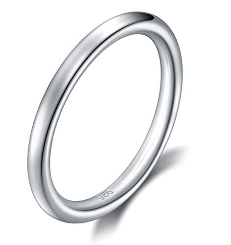 BORUO 925 Sterling Silver Ring High Polish Plain Dome 2mm Ring Size 7.5 ()