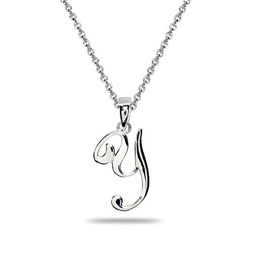 Sterling Silver Y Letter Initial Alphabet Name Personalized 925 Silver Pendant ()