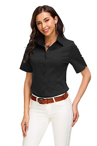 Womens Basic Button Down Shirts Simple Short Sleeve Pullover Stretch Formal Casual Shirt