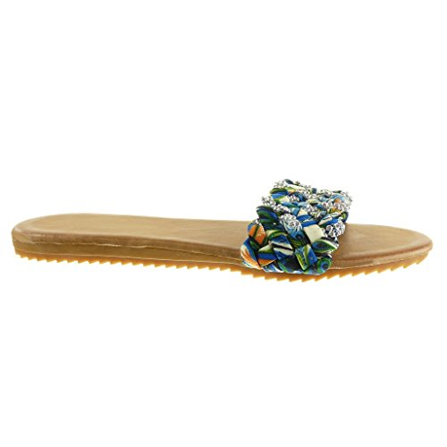 Angkorly - Scarpe da Moda sandali infradito donna tanga intrecciato strass Tacco tacco piatto 1.5 CM - Blu