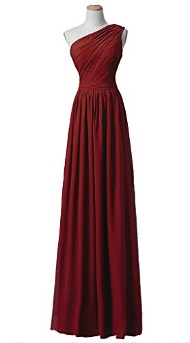 RohmBridal Womens Chiffon One Shoulder Prom Bridesmaid Dresses Burgundy 14