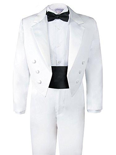 Spring Notion Boys' White Classic Tuxedo with Tail Black 4T