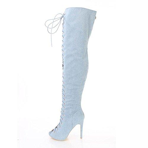 yc Cowboy Cravatta L Blue Stivali Denim Al Per piattaforma Inverno Punta Casual Con Tonda Abito Autunno Da Donna Ginocchio SMGqzVpjLU