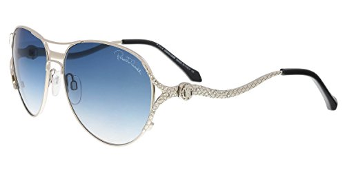 Roberto Cavalli Men's Designer Sunglasses , Shiny Palladium/Gradient Blue, - Aviator Sunglasses Cavalli Roberto
