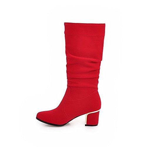 AgooLar Damen Eingelegt Mittler Absatz Rund Zehe Ziehen auf Stiefel, Rot, 37
