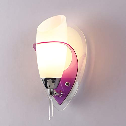 JIAWEI Led Art Wall Light, E14 Bedroom Bedside Lamp Plating Process Frosted Glass - 250 152Mm,Purple