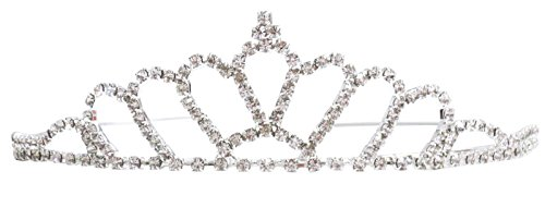 Ice Princess Costume For Adults (Women's Elegant Rhinestone Wedding Bridal Tiara Crown, Fan-Shaped)