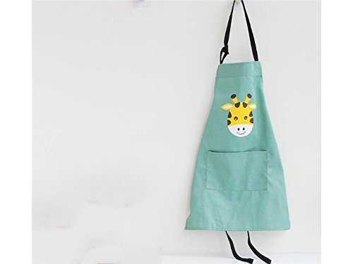 Yhcean BBQ Creative Cartoon Animal Giraffe Printed Hanging Neck Parenting Apron for Kids Child Sleeveless Apron with Pocket(Size:S) for Cooking